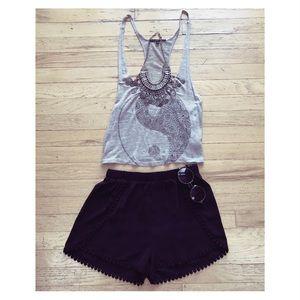 Black Crochet-trim Dolphin Shorts
